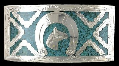 Vtg Good Luck Lucky Horseshoe Turquoise Inlay Western Cowboy Cowgirl Belt Buckle
