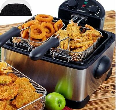 Large Deep Fryer Double Basket Twin Countertop 1700W Fried Food Electric Parties