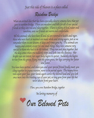 RAINBOW BRIDGE pet LOSS MEMORIAL POEM ONLY dog cat  personalized  for 8x10 frame