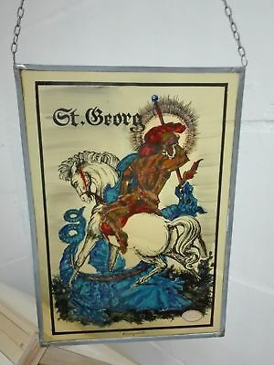 Antique 1900 German Stained Glass Window St Georges and Dragon art deco nouveau