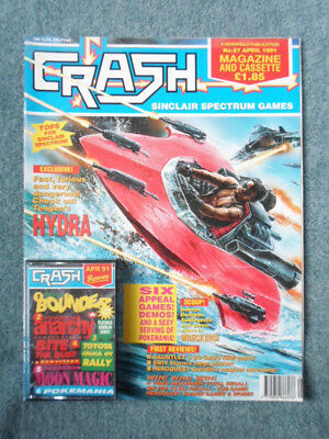 ZX Spectrum CRASH Magazine Issue 87 (April 91) Hydra Cover With Cover Tape