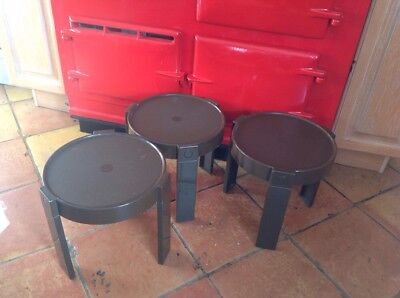 1970's plastic stacking/nesting tables set of 3 Identical Dark Brown