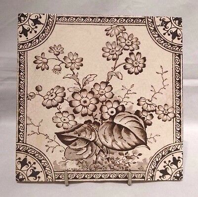 """Victorian~Antique~Original~Fireplace~Tile~Ornate~Hand-Painted~Flowers~Foliage~6"""""""