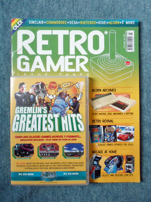 RETRO GAMER Issue 3 GREMLIN'S GREATEST HITS Game Magazine With Cover Disc
