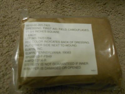 "Genuine USGI Field First Aid Dressing 11.75""x11.75"" Camouflaged Lot of 2"