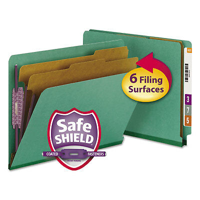 Smead Pressboard End Tab Classification Folders Letter Six-Section Green 10/Box