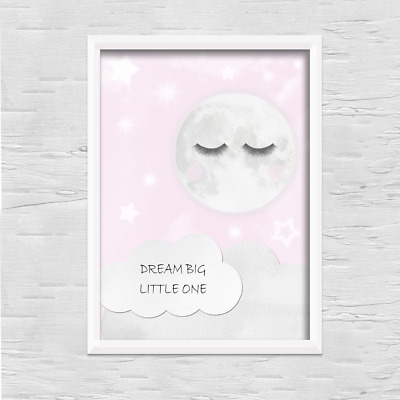 Sleep moon PRINT ONLY a4 Gift Picture pink wall art girly bedroom sleepy eyes
