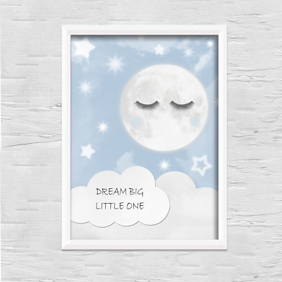 Moon PRINT ONLY a4 Gift Picture blue wall art boy nursery bedroom sleepy eyes