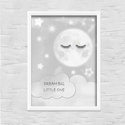 Moon PRINT ONLY a4 Gift Picture grey wall boy girl nursery bedroom sleep eyes