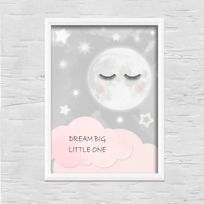 Moon PRINT ONLY a4 Gift Picture pink wall boy girl nursery bedroom sleep eyes