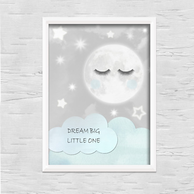 Moon PRINT ONLY a4 Gift Picture blue wall boy girl nursery bedroom sleep eyes