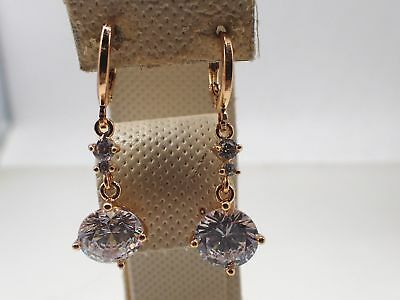 Ladies 18ct 18K Yellow Gold Solid Round cut Created Diamond Drop Dangle Earrings