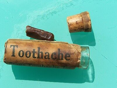 Collectible Antique Toothache Medicine Bottle - Paper Label & Cork - Dentistry