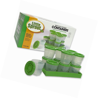 Baby Food Containers: Reusable Stackable Freezer Safe Storage Cups w/ Tray & Dry