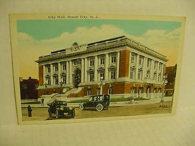 Vintage Postcard from Ocean City New Jersey City Hall Old Automobile Cars P281A