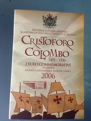 San Marino 2 Euro 2006 Christoph Kolumbus Christoforo Colombo Blister Folder