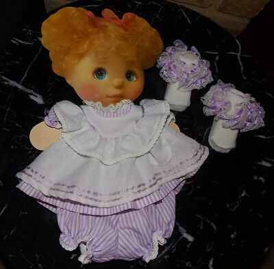 My Child Doll ~Purple striped Pinny set~ excellent condition + lacy socks