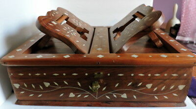 Bible Quran Wooden Foldable Book Stand Box Holder Inlaid w/Mother of Pearl
