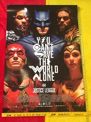 "Justice League Final Movie Poster DS 27""x40"" New, Gal Gadot,Henry Cavill,Affleck"