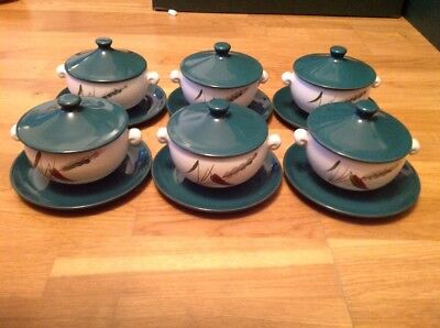 Denby Greenwheat 6 Twin Handled & Lidded Soup Bowls with Saucers. Signed