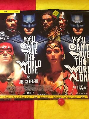 "Justice League Movie Poster DS 27""x40"" New 2pcs lot, Gal Gadot,Cavill,BenAffleck"