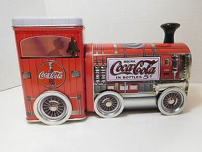 1886 Drink Coca - Cola In Bottles 5 Cent Tin Train With Rolling Wheels~Free Ship