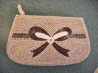 Vintage Pearl Beads Rhinestone Clutch Purse Hand Made Japan Excellent Condition