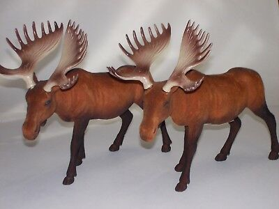 Flocked Moose Standing Figure 8 1/2'' New With Defects~Lot Of 2~Wildlife Nature