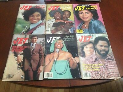 6 Jet Magazines, 1970's, good condition, no labels.