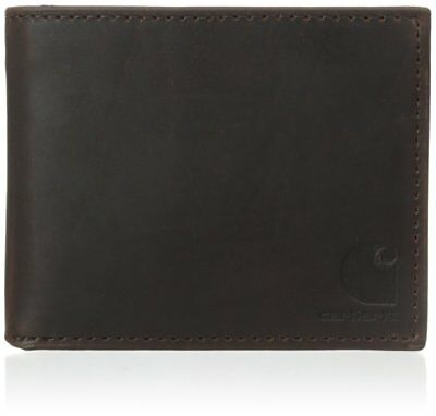 Men's Oil Tan Pass Case Wallet Size Logo Corner Slip Card Pockets Windows Slots
