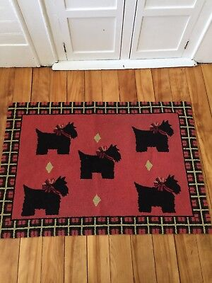 "Vintage Scottish Terrier Needlepoint Area Rug 39"" X 26 1/2"""