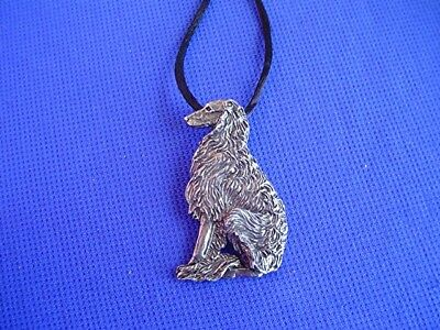 Borzoi Wolfhound Sitting necklace Obedience 17K Pewter Hound Dog Jewelry by CAC