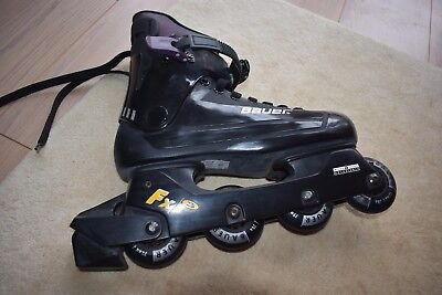 Adult size 7 Bauer roller blades. Includes bag and wrist guards.V good condition