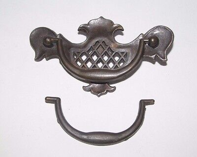 Antique Ornate Brass Reticulated Drawer Pull Handle Dresser Victorian Eastlake