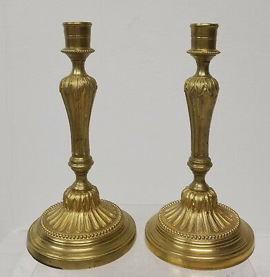 Antique French Ormolu Fire Gilt Bronze Candlesticks Floral France Paris
