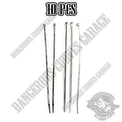 """10 Pro Grade - Chrome 8"""" Cable Zip Ties for Wire Harness Brake Clutch Line"""