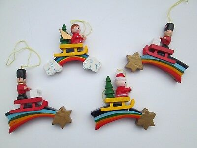 Vintage 1970's Hand Painted Wood Ornaments Taiwan Unbranded RAINBOWS