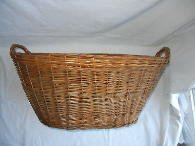 Vintage / Antique French Style w/Handles Wicker/Rattan HUGE Laundry Oval Basket