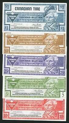 Canadian Tire money five notes lot collection  5c 10c 25c 50c & $1 Canada