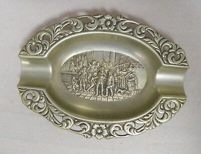 Vintage Decorative Pressed Metal Cigar Ashtray Medieval Repousse 4-3/4 In.