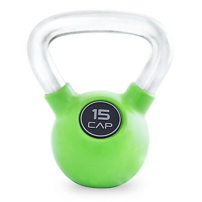 (Green  (15-Pound)) - CAP Barbell Rubber Colour Coated Kettlebell with Chrome