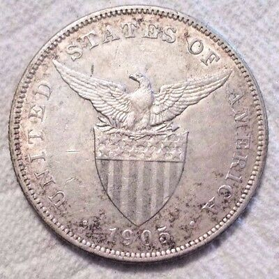 1905 S Curved Serif on 1 Philippines Peso KM# 168 .900 Silver Coin