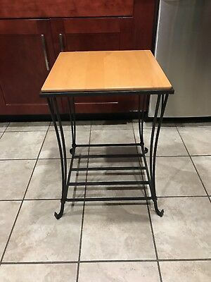 Longaberger Foundry Wrought Iron Side End Table with Maple Shelf