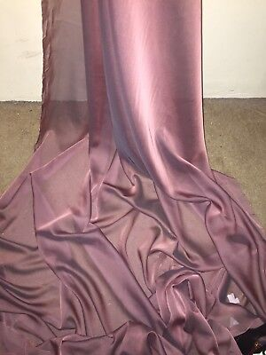 "10 Mtr Two Tone Dusty Pink Cationic Sheer Bridal Dress Chiffon Fabric...58"" Wide"