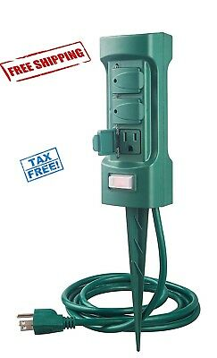 Yard Stake Timer Garden Christmas Decorations Green Cord Outdoor Outlet Photocel