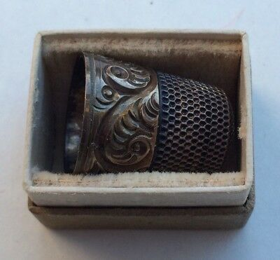 Antique Sterling Silver Thimble - Simons Bros - With Jeweler Box - American Made
