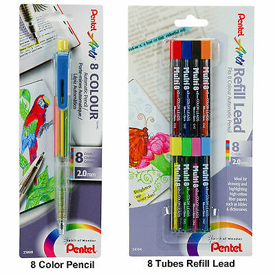 Pentel PH158 8 Color Pencil & 8 Tubes Of Refill Lead, Bible Highlighter