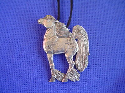 Stylized Rain Horse necklace Pewter jewelry by Cindy A. Conter 37c