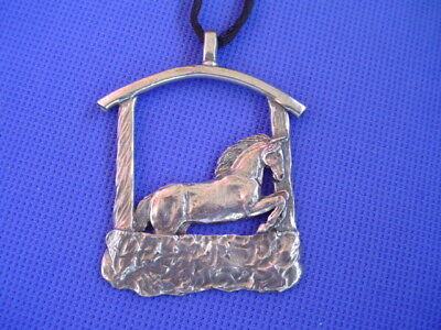 Stylized Jumping Horse necklace Pewter jewelry by Cindy A. Conter 37D