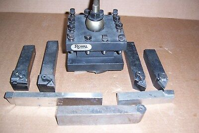 """Royal 4½"""" Square Turret Tool Post, 1-1/4"""" Capacity, With Kennametal Tooling"""
